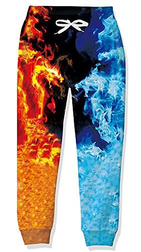 Goodstoworld Pantalones para Niñas Kiner Pantalones Deportivos para Niños Dragón de Fuego Pantalones con Puños Elásticos Pantalones Deportivos 3D Pantalones 12-13 Años