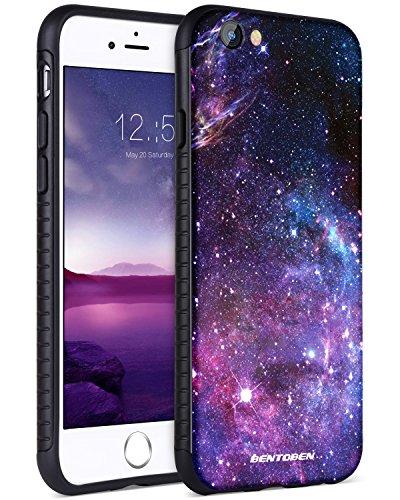 BENTOBEN iPhone 6 6S Hülle, Handyhülle iPhone 6 Nebula Pattern Muster mit Solider PC Schale und flexibeler TPU Cover stoßfest Kratzfest Hülle für iPhone 6 iPhone 6s Lila Schwarz