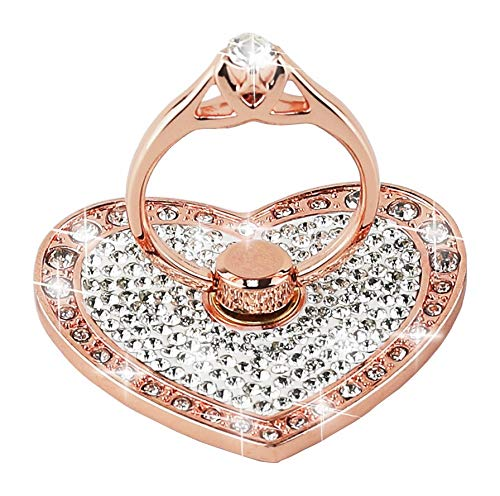 CXMALL Cell Phone Finger Ring Holder with Blingy Crystals, Heart Love Phone Ring Kickstand [Washable] [Removable], 360°Rotation Zinc Alloy Ring Grip Stand for All Phones (Rose Gold)
