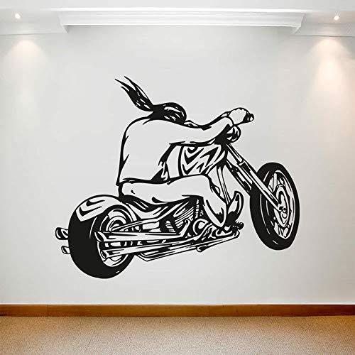 BLOUR Motorradfahrer Wandtattoo Motorrad Cool Style Fenster Vinyl Aufkleber Jungen Schlafzimmer Mann Höhle Garage Inneneinrichtung Kunst E406