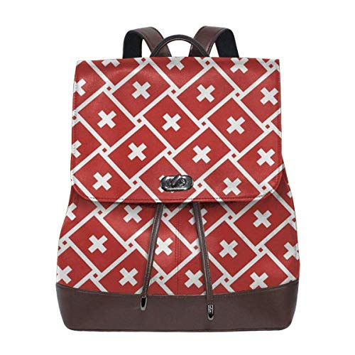 Schulrucksack, Switzerland Flag Weave Women Backpack for Travel Shopping Casual Laptop Leather Versatile Shoulder Bag