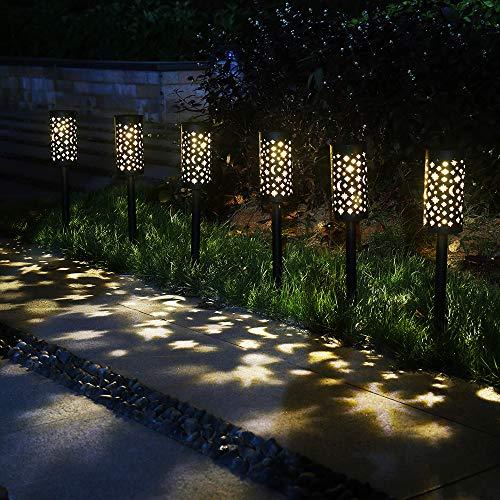 Solar Garten Lichter Mond im Freien 6er Pack LED solarbetriebenes Licht Solar Lampe Laterne wasserdichte Dekoration Beleuchtung für Landschaft, Gehweg, Hof, Rasen, Geschenk Urlaub