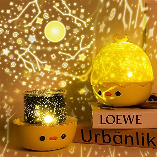 AKDSteel Proyector de luz Nocturna LED Crown Duck Shape Lámpara de proyección para niños Dormitorio Decoración de Fiesta en casa USB Models