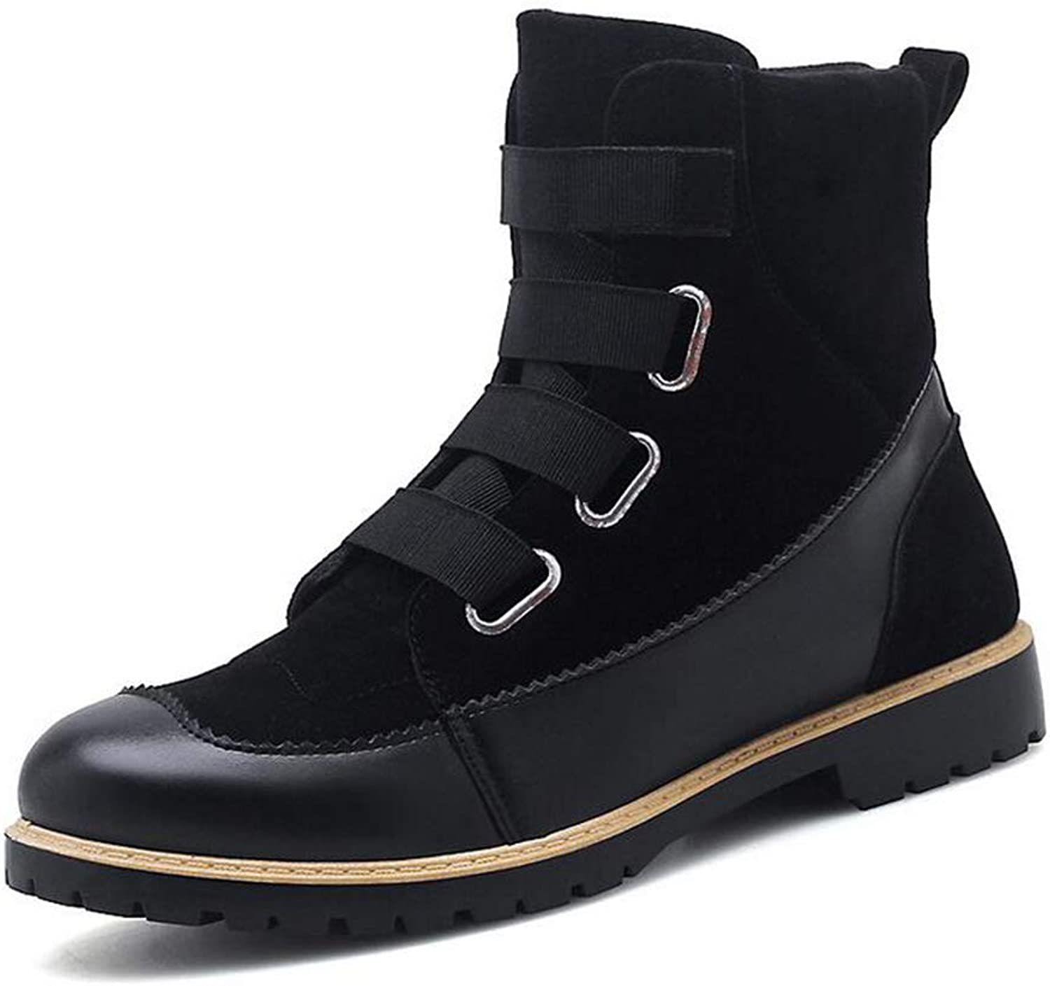Y-H Men's shoes, Leather Fall Winter New Formal shoes, Tide Flow Personality Martins Boots, Flat Casual shoes (color   Black, Size   43)