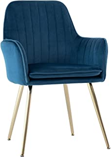 GOLDEN BEACH Elegant Velvet Dinning Chair Mid-Back Support Accent Arm Chair Modern Leisure Upholstered Chair with Gold Plating Legs (Blue)