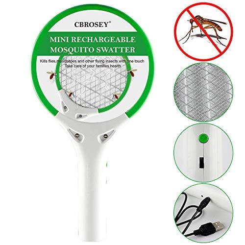 CBROSEY Raqueta Matamoscas Electrica,Raqueta Matamoscas,Antimosquitos Recargable Raqueta Matamoscas Electrica, Matamoscas Electrico Recargable USB Raqueta Mosquito Swatter para Interiores Exteriores