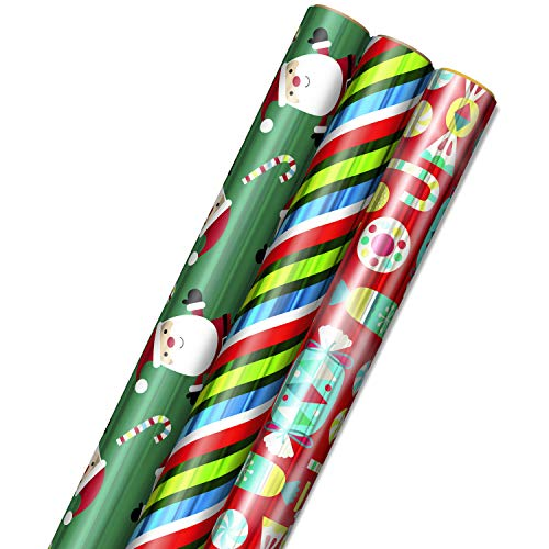 Hallmark Foil Christmas Wrapping Paper with Cut Lines on Reverse (3 Rolls: 60 sq. ft. ttl) Cute Santa, Colorful Candy, Blue, Green, Red Stripes