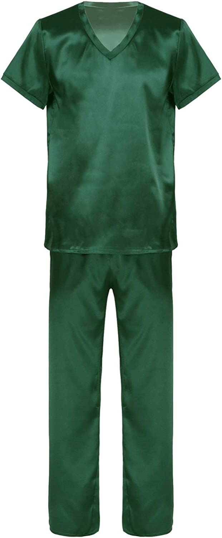 moily Mens Silk Satin Pajamas Classic Short Sleeve Sleepwear Two Piece Pj Sets Loungewear