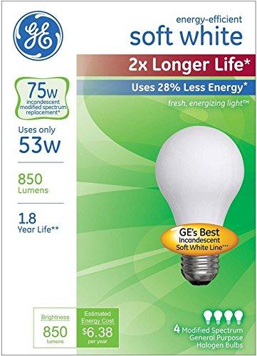 GE Lighting 70335 Halogen Light Bulb, Soft White, 53 Watts, 4/Pack