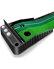 Mibril パターマット ゴルフ練習パット パッティングマット スイング練習 自動返球 高品質人工芝 パター技術向上 折り畳み 収納しやすい