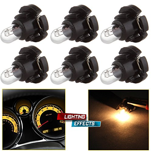 Price comparison product image cciyu 6 Pack Warm White T4 / T4.2 Neo Wedge Halogen A / C Climate Control Bulb Replacement fit for A / C Climate Control Light (black)