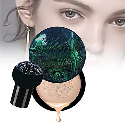 Mushroom Head Air Cushion BB Cream Foundation, base de colchón de aire impermeable impecable, para TODO el maquillaje de la piel, fácil de aplicar, fina, húmeda, duradera