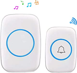 SPARKE Wireless Doorbell Waterproof Door Chime Kit Operating at Over 1000ft Range with One Plug-in Receivers, 60 Melodies, CD Quality Sound and LED Flash (White)