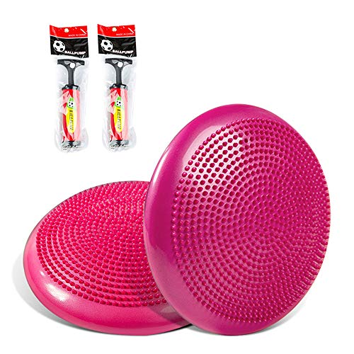 バランスディスク,バランスクッション 33cm 体幹トレーニング シェイプアップ ダイエット 筋トレグッズ 自宅 オフィス 運動器具 子供用 バランスボール 空気入れポンプ付き 2個入り,ピンク