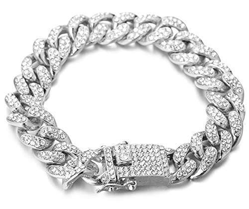 Halukakah Cadena de Oro Diamante Hombre,14MM Chapado Platino Oro Blanco Diamante Cadena Cubano Pulsera,con Caja de Regalo