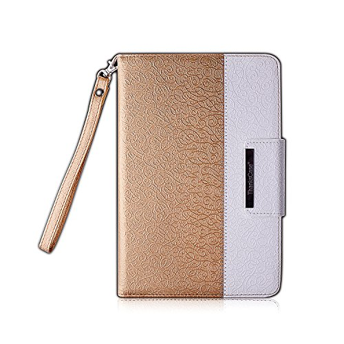 Thankscase Case for iPad Mini 4, Rotating Case Cover for Ipad Mini 4 with Wallet and Pocket with Hand Strap with Smart Cover Function for iPad Mini 4 2015 (Gold)