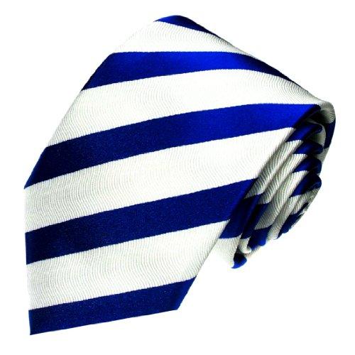 Lorenzo Cana - Weiss Blaue Marken Krawatte aus 100% Seide mit Streifen - Accessoires in Italienischer Tradition - 84183