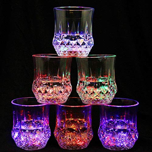 6 Pack Flashing Cups,Flashing Shots, Flash Light Up Cups,Multicolor LED Tumblers,Fun Light Up Drinking Glasses,Fun Cups for Party/Birthday/Night Clubbing/Christmas/Disco BPA-Free