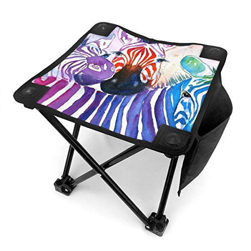 Taburete plegable para camping, diseño de cebras arco iris, acuarela, portátil, camping, caza, pesca, viajes, con bolsa de transporte