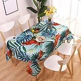 XXDD Estilo Pastoral Decorativo Hojas de Plantas Tropicales Mantel de algodón Mantel Cubierta de Mesa de Comedor para decoración de Cocina A10 140x200cm