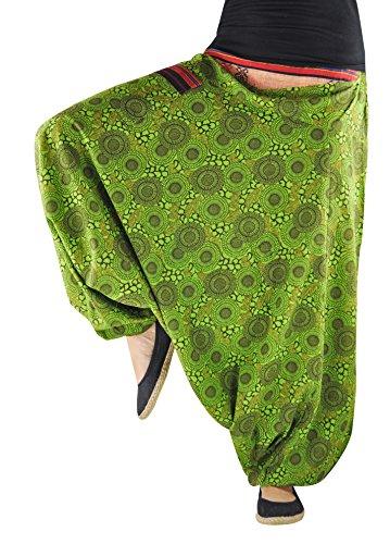 Virblatt Unisex Pantaloni Alla Turca In Stile Harem In Color Verde E Fantasia Taglia Unica Che Veste Dalla S Alla L Come Abbigliamento Alternativo Naturverbunden