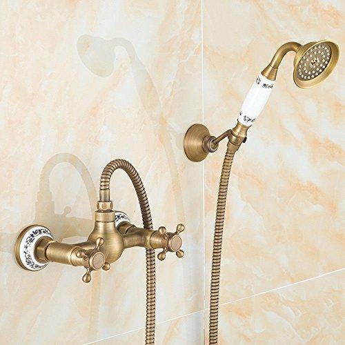 Cobre antiguo retro estilo europeo ducha de lluvia conjunto ducha baño azul y blanco ducha de porcelana