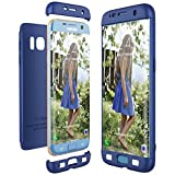 CE-Link Funda para Samsung Galaxy S7 Edge Rigida 360 Grados Integral, Carcasa S7 Edge Silicona Snap On Diseño Antigolpes Choque Absorción, Samsung S7 Edge Case Bumper 3 en 1 Estructura - Azul