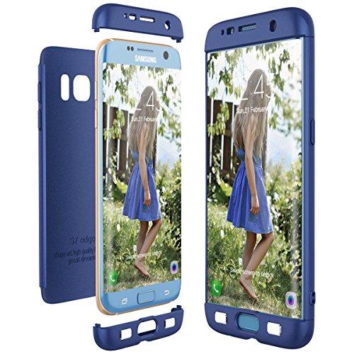CE-Link Cover per Samsung Galaxy S7 Edge 360 Gradi Full Body Protezione, Custodia S7 Edge Silicone Rigida 3 in 1 Samsung S7 Edge - Blu
