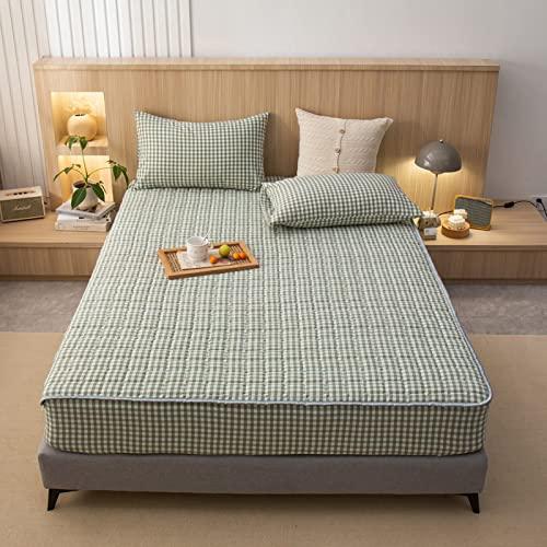 BAJIN Hilo de algodón para cama de tamaño profundo, no planchado, bordes elásticos duraderos, 150 cm x 200 cm + 25