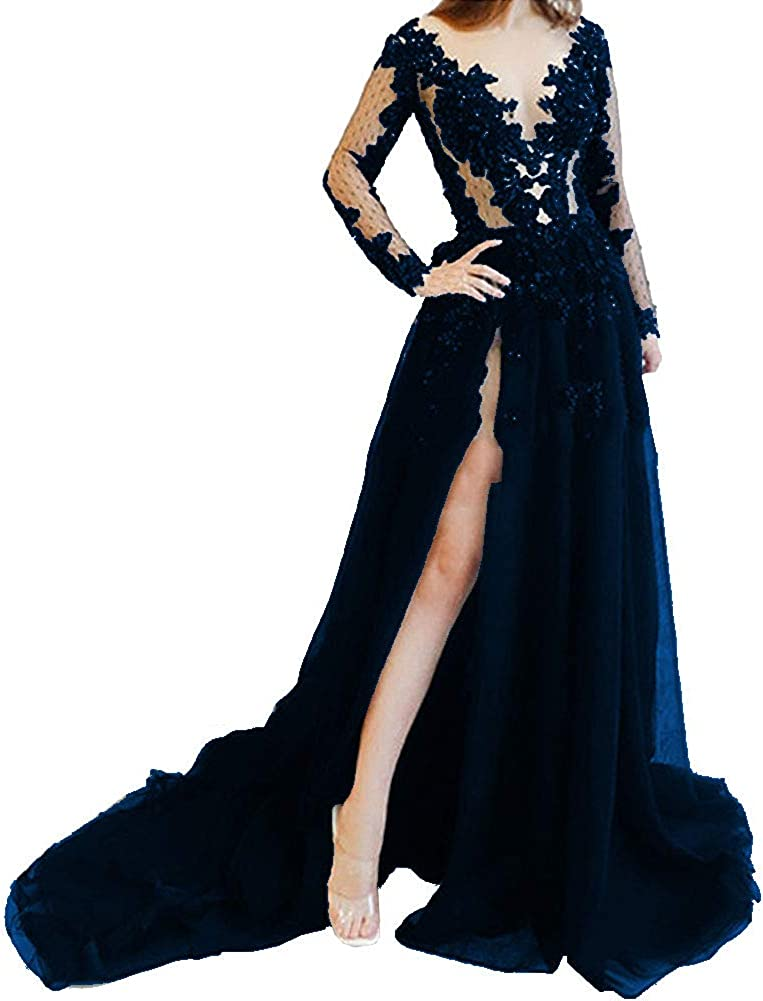 FndMeeii Women's Long Sleeve Illusion Lace Appliques Evening Dresses V-Neck Side Slit Prom Gowns
