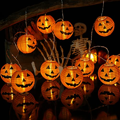 Geemoo Halloween Deko, 4M 20 LED Halloween Lichterkette Orange Lampions Bedruckte Kürbis, Wasserdicht 2 Modi Lichterkette Batterie Betrieben für Außen Innen Halloween Dekoration