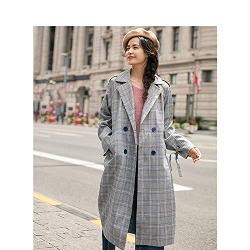 Silla de baño primavera primavera otoño solapa suelta con cinturón retro cuadros sección larga mujer gabardina chfyg (color: B, tamaño: L)