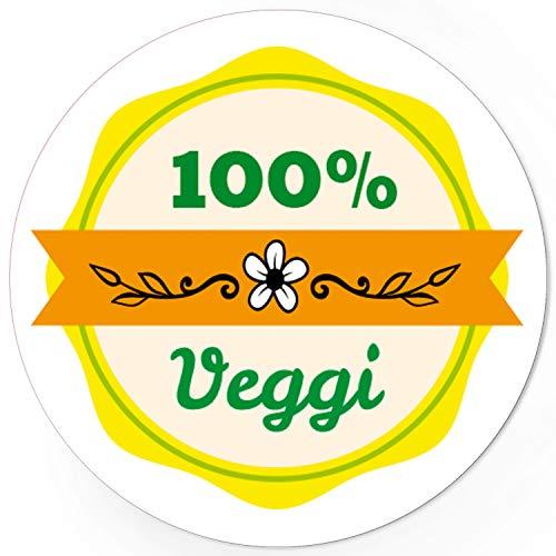 48 runde Design Etiketten - 100% Veggi - Aufkleber passend für Vegetarisch Hotel Buffet Essen Nahrungsmittel