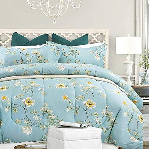 NANKO Comforter Set Queen Size,Teal 88 x 90 inch Reversible Down Alternative Comforter Microfiber Duvet Sets (1 Comforter + 2 Pillow)Best Country Style Floral Leaf Vintage Flower Print Bedding, Green