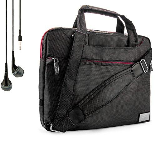 NineO Sport Nylon Shoulder Bag Carrying Case for HP 10 Plus Slate Slatebook ProPad ElitePad Tablets and Handsfree Earphones