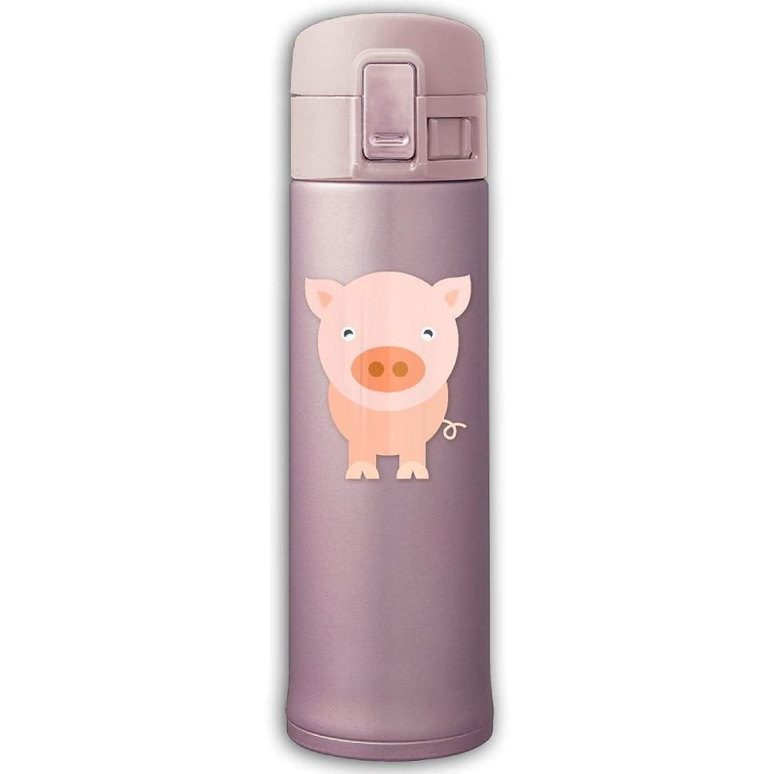 依存するスケート火TRAMST 水筒 直飲み 動物 豚 ピンク かわいい ワンタッチマグカップ 500ml ステンレス製 ロック付き ステンレスボトル 魔法瓶 ワンタッチオープン ワンタッチマグボトル 保温 すいとう 4カラー