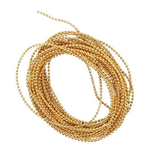 F Fityle 5m 1,5mm Mini Perlen Perlengirlande Perlenband Perlenschnur Perlengirlanden Tischdeko Nagelperlen - Gold