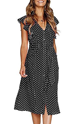 Angashion Women's Short Sleeve Casual Summer Dress with Pockets Schwarz Punkte L