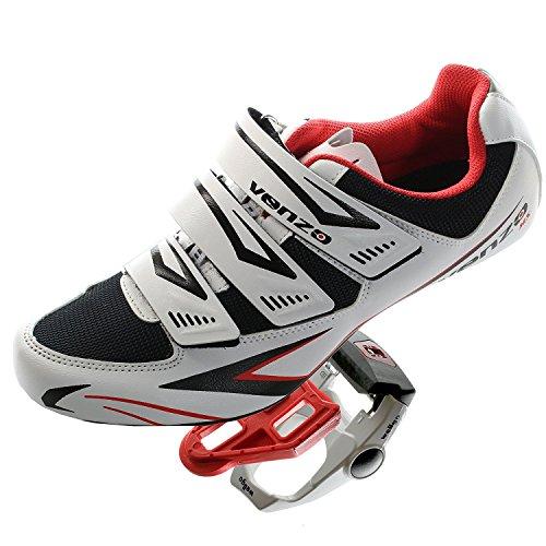 Zapatos y pedales Venzo para bicicleta de carretera Shimano SPD SL, 42.5