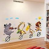 Pegatina pared animales monociclo habitaciones niños salas lectura cabecero cuna y cama, escaparate consultas infantiles de CHIPYHOME