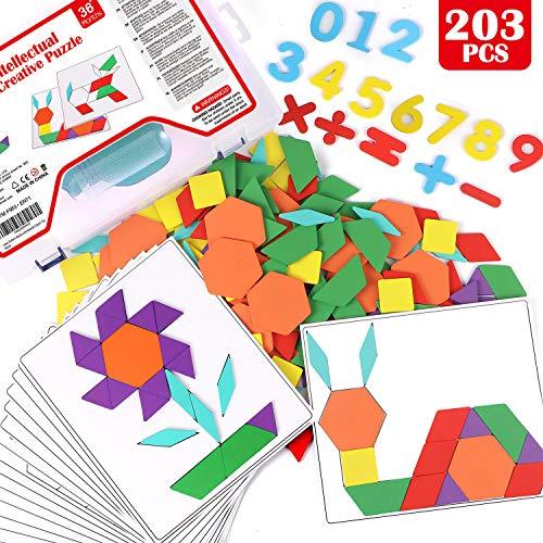 Lewo 203 Stücke Holzpuzzle Tangram Geometrische Formen Puzzle Lernspielzeug für Kinder mit 15 Doppelseitigen Musterkarten