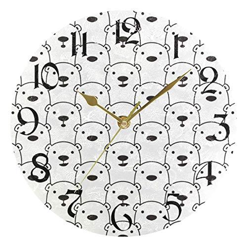 ART VVIES Reloj de Pared Redondo de 10 Pulgadas, sin tictac, Puntero Dorado silencioso, Funciona con Pilas, Oficina, Cocina, Dormitorio, decoración del hogar, Oso Polar