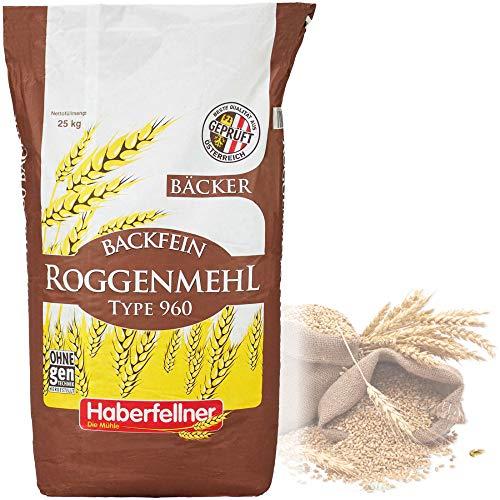 Roggenmehl Type 997 (DE) 960 (AT) Hochwertiges Mehl - gentechnikfrei und pestizid-kontrolliert | Ideal zum Backen von Brot, Lebkuchen und Gebäck (25 kg)