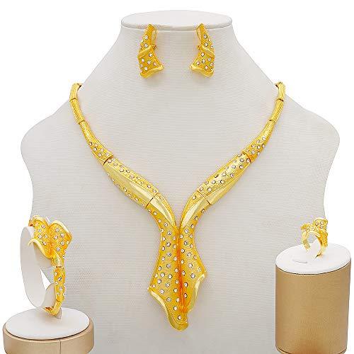 TCross Fiesta Nupcial de la Boda Juego de Joyas de diamantonamiento Ondulado, Collar de Gargantilla Pendientes de Anillo de Pulsera fijados Multicolor Mujer Joyería (Metal Color : BJ816 1)