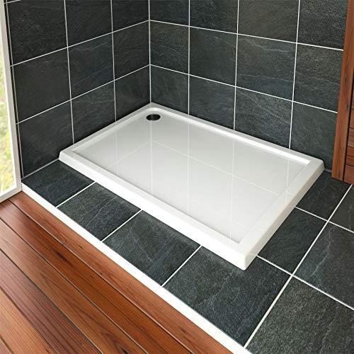 Nuie Bathroom 1100 x 700mm Shower Tray Gloss White Slimline 40mm Stone Resin Rectangular Base with Free Waste Trap Kit