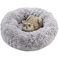 Qucey Dog Cat Soft Comfortable Faux Fur Donut Cuddler Bed