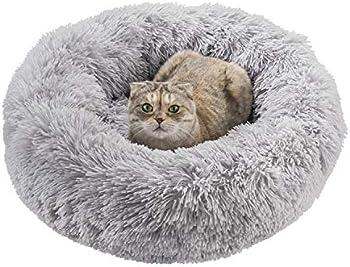 Qucey Dog Cat Soft Comfortable Faux Fur Donut Cuddler Bed