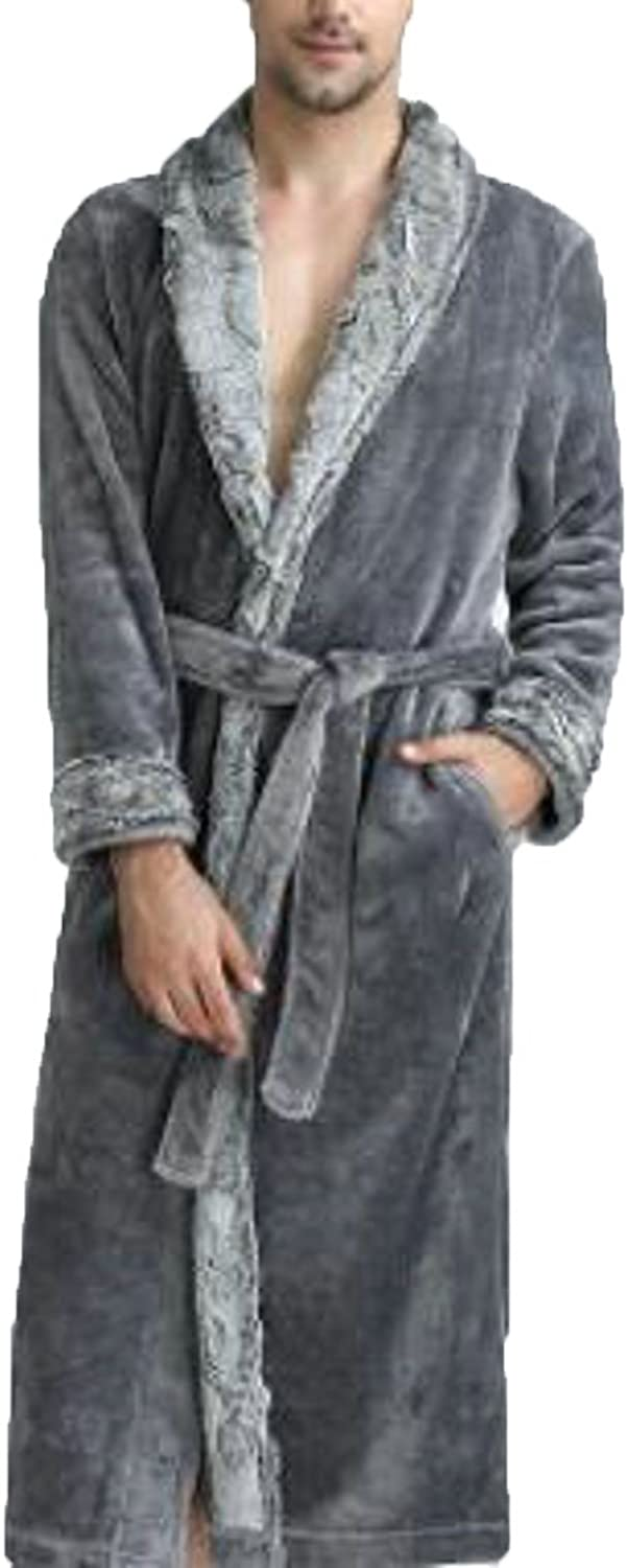 - Macondoo Men's Spa Sleepwear Thicken Flannel Warm Bathing Ultra Ultra Ultra Soft Bathrobe Robes 1ce3ad