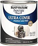 Rust-Oleum 1986502 Painter's Touch Latex Paint, Quart, Gloss Dark Gray