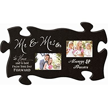 M & Mrs Always and Forever 13 x 22 Wall Hanging Wood Puzzle Piece Double Photo Frame